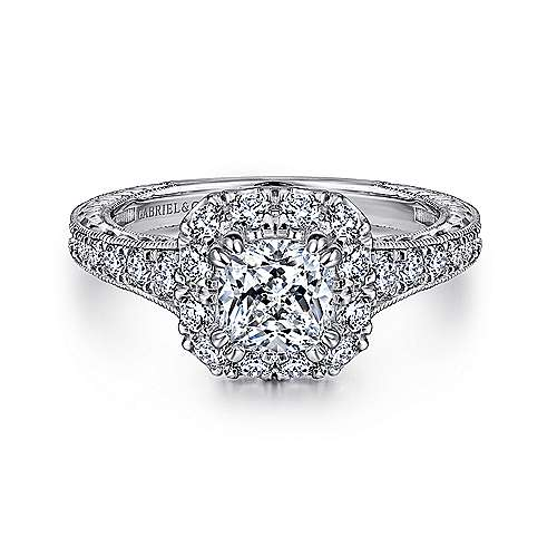 Gabriel - Samantha 14k White Gold Cushion Cut Halo Engagement Ring