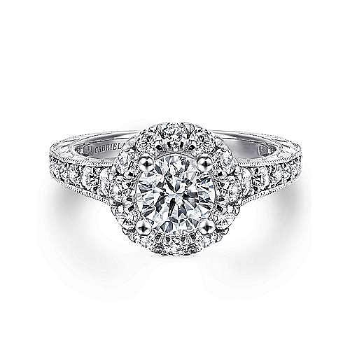 Gabriel - Samantha 14k White Gold Round Halo Engagement Ring