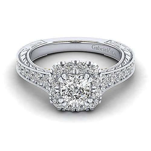 Gabriel - Samantha 14k Yellow And White Gold Cushion Cut Halo Engagement Ring