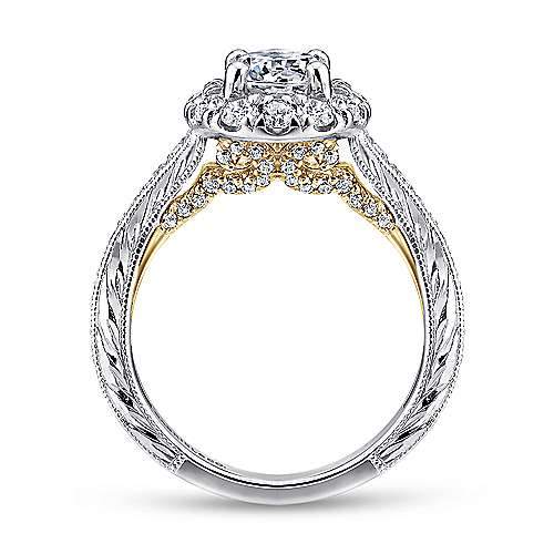 Samantha 14k Yellow And White Gold Round Halo Engagement Ring
