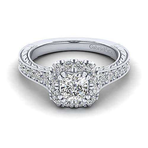 Gabriel - Samantha Platinum Cushion Cut Halo Engagement Ring