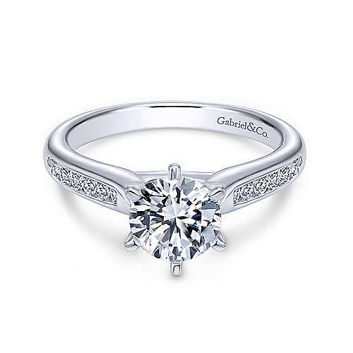 Samira 14k White Gold Round Straight Engagement Ring angle 1