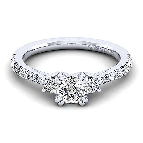 Gabriel - Sandy 14k White Gold Cushion Cut 3 Stones Engagement Ring