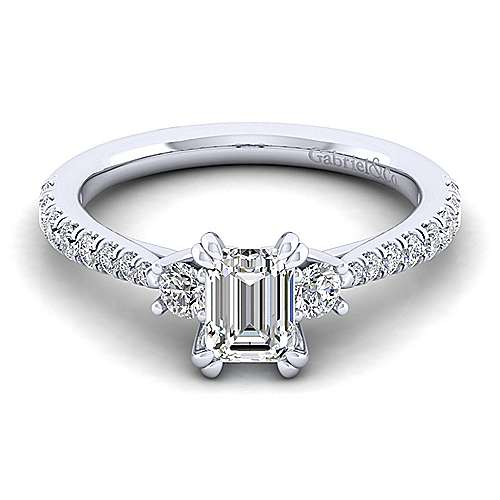 Gabriel - Sandy 14k White Gold Emerald Cut 3 Stones Engagement Ring