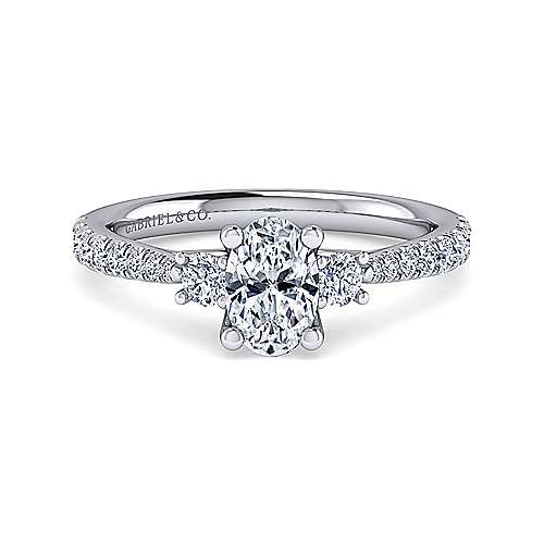 Gabriel - Sandy 14k White Gold Oval 3 Stones Engagement Ring