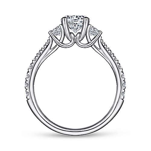 Sandy 14k White Gold Round 3 Stones Engagement Ring angle 2