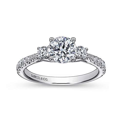 Sandy 14k White Gold Round 3 Stones Engagement Ring angle 5