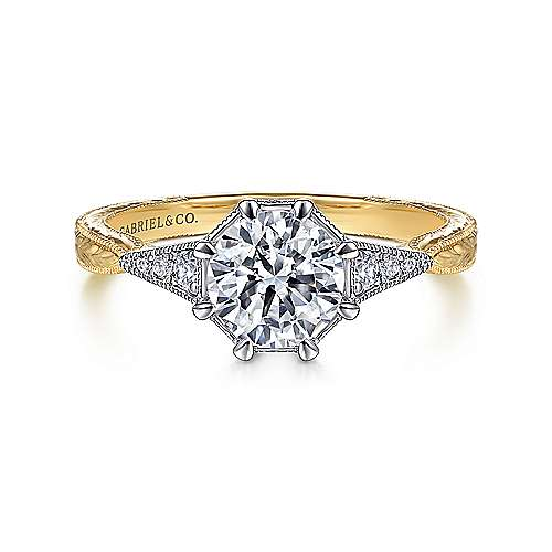 Gabriel - Sanna 14k Yellow And White Gold Round Straight Engagement Ring