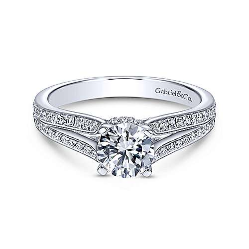 Saoirse 14k White Gold Round Split Shank Engagement Ring angle 1