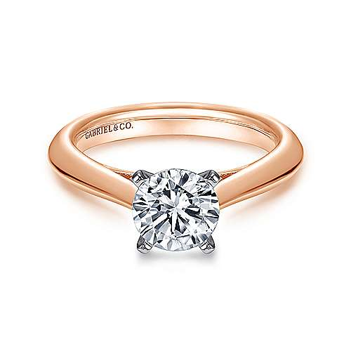 Gabriel - Sasha 14k White And Rose Gold Round Solitaire Engagement Ring