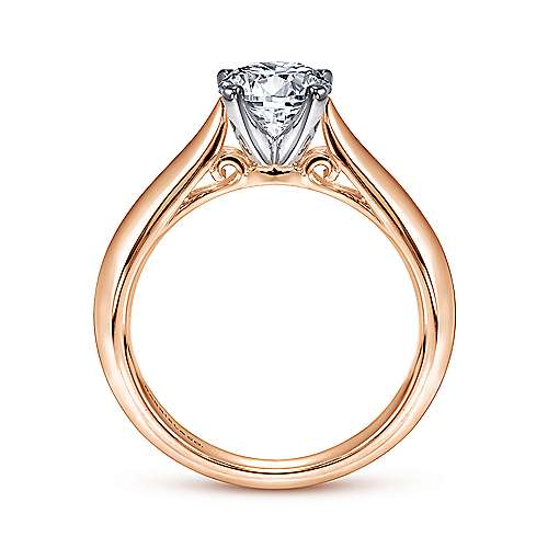 Sasha 14k White And Rose Gold Round Solitaire Engagement Ring angle 2