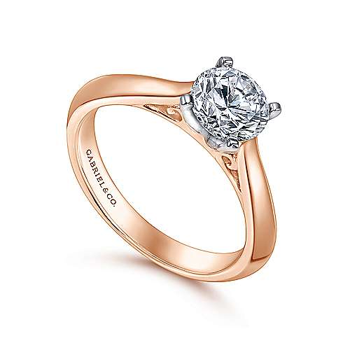 Sasha 14k White And Rose Gold Round Solitaire Engagement Ring angle 3