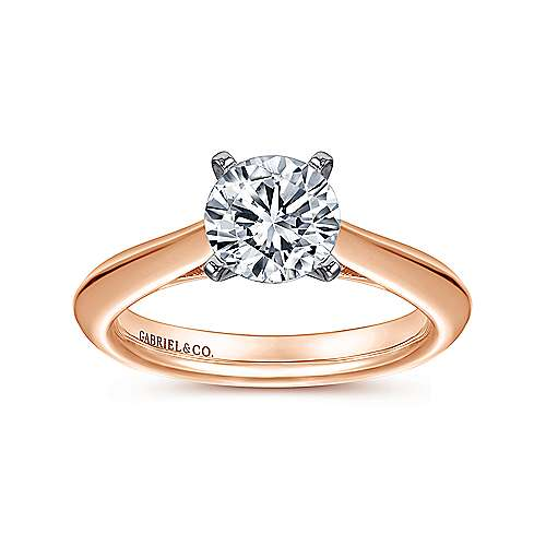 Sasha 14k White And Rose Gold Round Solitaire Engagement Ring angle 5
