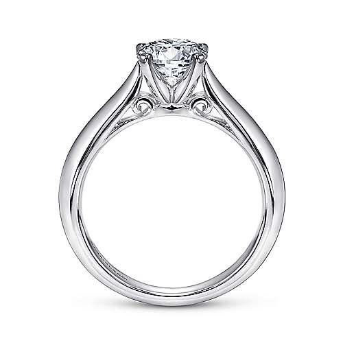 Sasha 14k White Gold Round Solitaire Engagement Ring angle 2