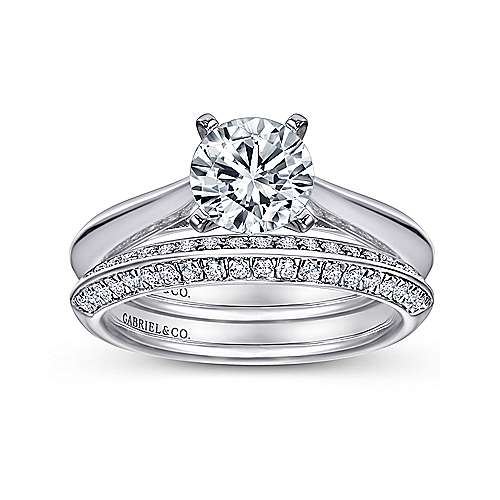 Sasha 14k White Gold Round Solitaire Engagement Ring angle 4