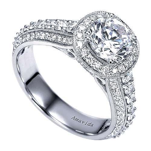 Satin 18k White Gold Round Halo Engagement Ring angle 3