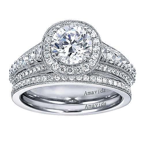 Satin 18k White Gold Round Halo Engagement Ring angle 4