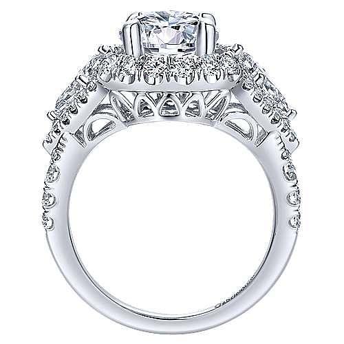 Satya 18k White Gold Round Double Halo Engagement Ring angle 2