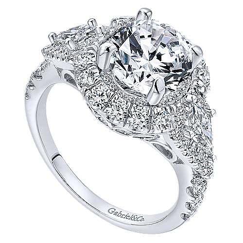Satya 18k White Gold Round Double Halo Engagement Ring angle 3