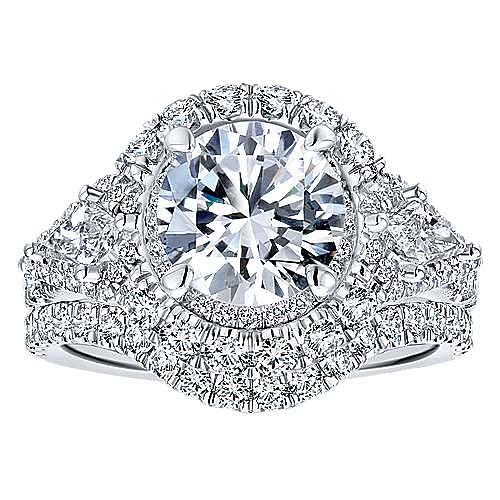 Satya 18k White Gold Round Double Halo Engagement Ring angle 4
