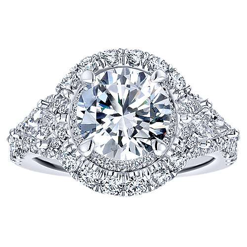 Satya 18k White Gold Round Double Halo Engagement Ring angle 5