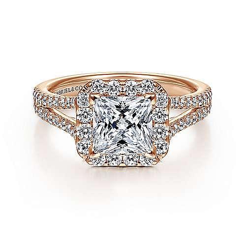 Gabriel - Savannah 14k Rose Gold Princess Cut Halo Engagement Ring