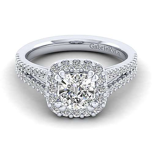 Gabriel - Savannah 14k White Gold Cushion Cut Halo Engagement Ring