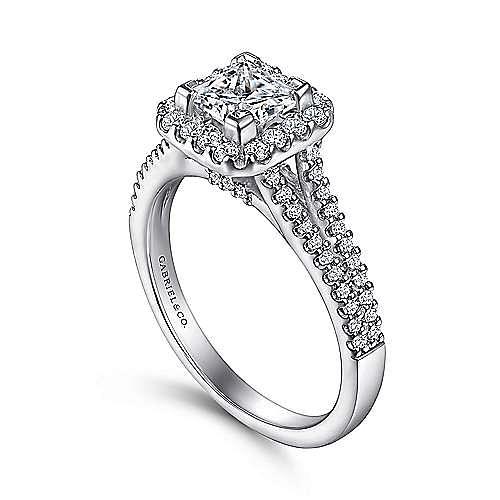 Savannah 14k White Gold Princess Cut Halo Engagement Ring angle 3