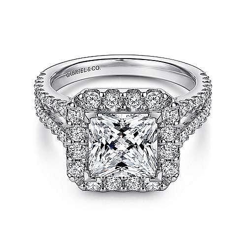 Gabriel - Savannah 14k White Gold Princess Cut Halo Engagement Ring
