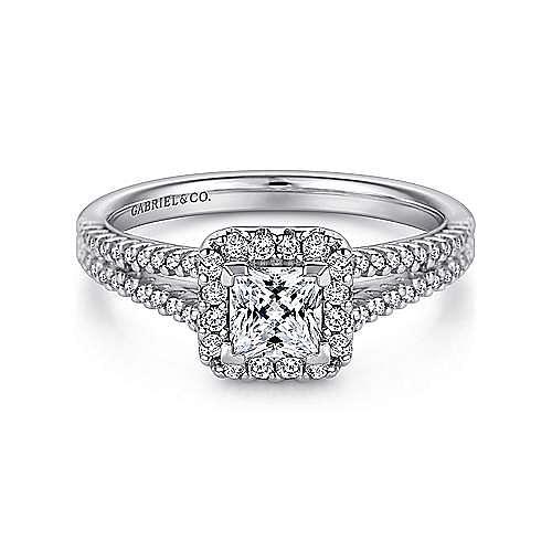 Savannah 14k White Gold Princess Cut Halo Engagement Ring angle 1
