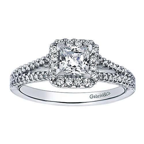 Savannah 14k White Gold Princess Cut Halo Engagement Ring angle 5