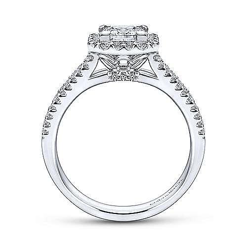 Savannah 14k White Gold Princess Cut Halo Engagement Ring angle 2