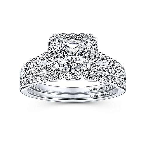 Savannah 14k White Gold Princess Cut Halo Engagement Ring angle 4