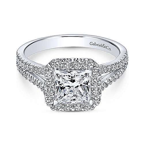 Gabriel - Savannah 18k White Gold Princess Cut Halo Engagement Ring