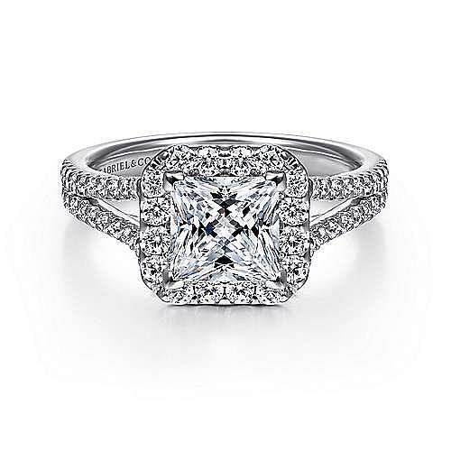 Gabriel - Savannah Platinum Princess Cut Halo Engagement Ring