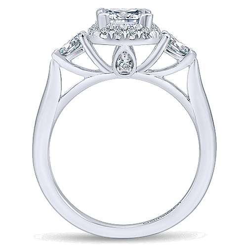 Savoire 14k White Gold Princess Cut Halo Engagement Ring angle 2