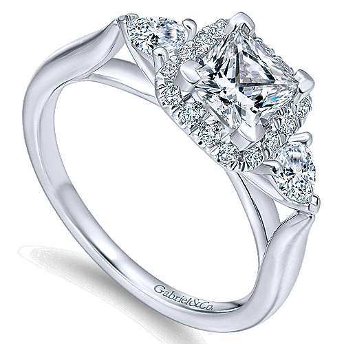 Savoire 14k White Gold Princess Cut Halo Engagement Ring angle 3