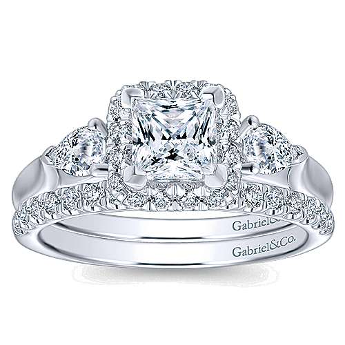 Savoire 14k White Gold Princess Cut Halo Engagement Ring angle 4