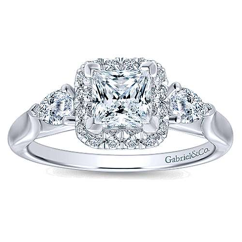 Savoire 14k White Gold Princess Cut Halo Engagement Ring angle 5