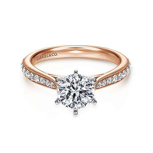 Gabriel - Sawyer 14k White And Rose Gold Round Straight Engagement Ring