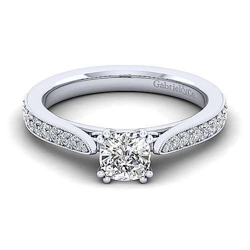 Gabriel - Sawyer 14k White Gold Cushion Cut Straight Engagement Ring