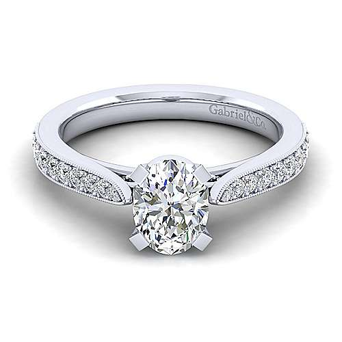 Gabriel - Sawyer 14k White Gold Oval Straight Engagement Ring