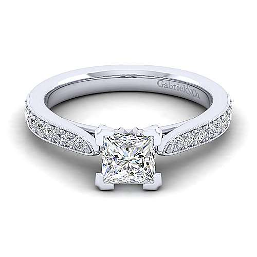 Gabriel - Sawyer 14k White Gold Princess Cut Straight Engagement Ring