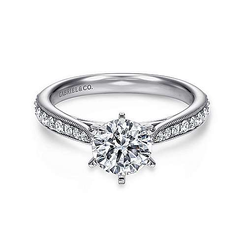 Sawyer 14k White Gold Round Straight Engagement Ring angle 1