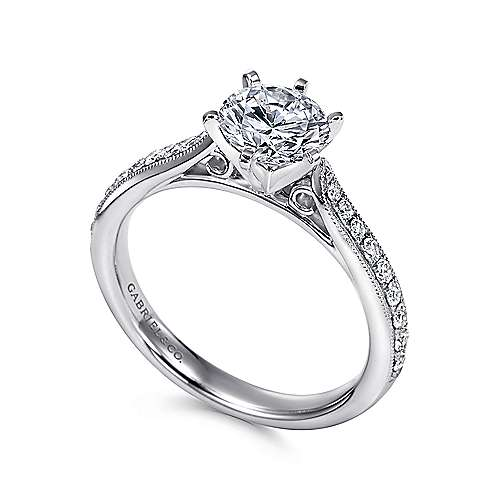 Sawyer 14k White Gold Round Straight Engagement Ring angle 3
