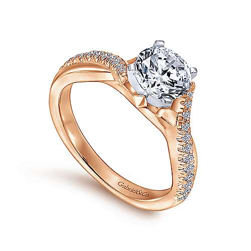 Scout 14k White And Rose Gold Round Twisted Engagement Ring angle 3