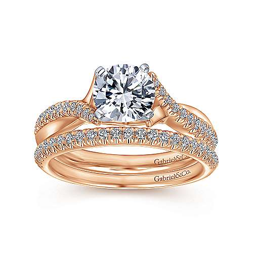 Scout 14k White And Rose Gold Round Twisted Engagement Ring angle 4
