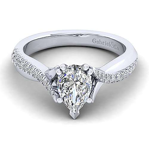 Gabriel - Scout 14k White Gold Pear Shape Twisted Engagement Ring