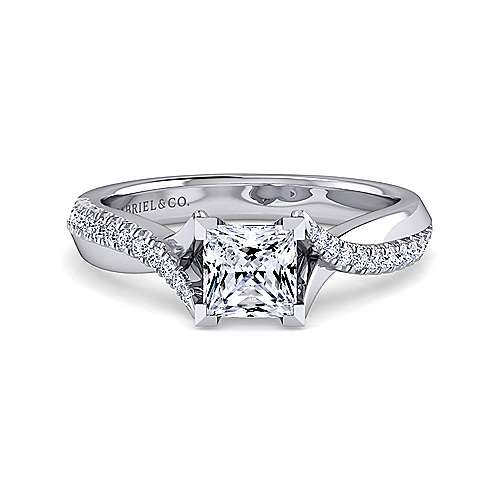 Gabriel - Scout 14k White Gold Princess Cut Twisted Engagement Ring