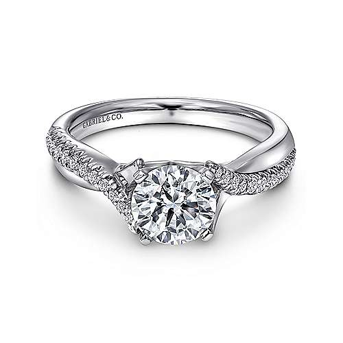 Gabriel - Scout 14k White Gold Round Twisted Engagement Ring